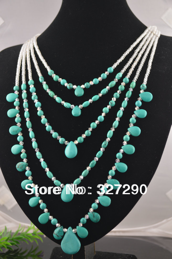 Women's Fashion 5 Rows Natural Turquoise Necklace Teardrop Faceted Crystal Beadwork Necklace(China (Mainland))