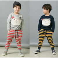 Retail 2013 New Children's Wear Boys Clothing Suits Long Sleeves Big Face Cat T-shirt + Pants Clothes Boys Clothing Set