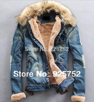 2014 New Winter Men'S Jeans Jacket High Quality Fur Collar Wool Denim Casual Jacket With Thick Coat Size XXL XXXL