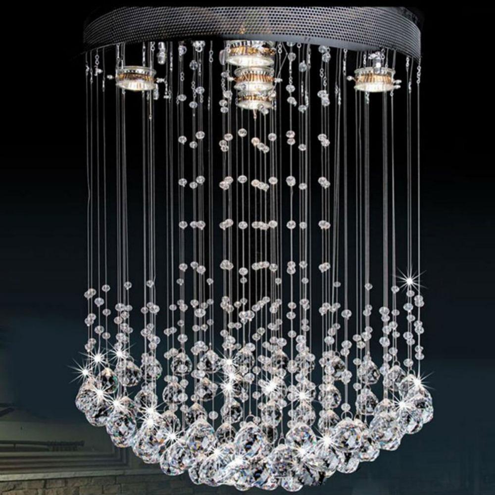 Luxe moderne kristallen hanglamp met 5 stuks gu10 lamp glas bengelen art deco opknoping lamp - Eetkamer art deco ...