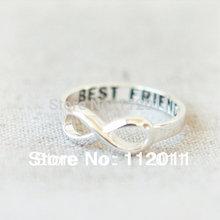 """atacado 10 pce / lote cor prata mix de moda amizade anel banhado antigos """"melhores amigos"""" Engravable Infinito Anel Frete grátis(China (Mainland))"""