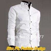 Free Shipping Men Brand Fashion Slim Fit White Mandarin Collar with Black Trim Casual Shirt QR-4949