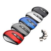 Free Shipping Mini 2.4Ghz 800 to 1200 DPI Ajustable Button  Wireless Optical Mouse Mice USB 2.0 Receiver for PC Laptop Desktop