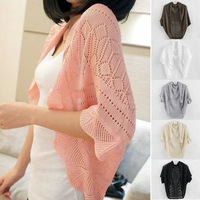 2014 New Ladies Tops For Women Kitted Crochet Cardigan Air Conditioning Puff Sleeve Outwear Sweater Smock Coats Jackets Clothing