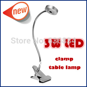 2014 New 3W Desk Table Bedside Reading Lamp Light With Flexible Hose And Clamp Clip