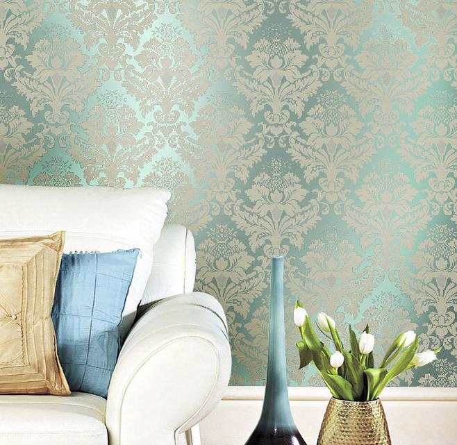 tapete wohnzimmer grün:Metallic Green Walls Living Room
