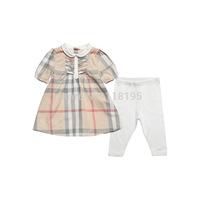 Hot sale UK Design Brand Baby Girls Plaid Clothing Sets 2015 New Children's Shirt+pants legging 2pcs suit cotton tops+trousers