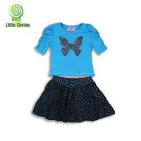 3 sets/lot children clothing sets 4-5 years girls clothing sets  bowknot bling star t-shirt+lace skirt TLZ-T0137