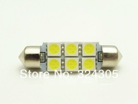 100 pcs Auto Car Festoon LED Dome 39mm  5050 6 SMD DC 12V  Interior Light  LED  Bulbs  Roof Car Light white  work lamp