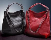 2015 Big Size Knitted Chain Bag Embossed Genuine Leather Bag Brand Famous Handbags Designer Red Shoulder Bag Black Messenger Bag