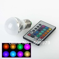 DHL Free Shipping Factory  E27 3w RGB colorful Bulb With IR Remote Controller