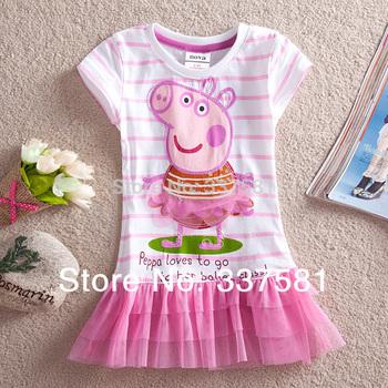 Retail   Nova Girls' Dresses New Fashion 2014 Summer Kids Wear Baby Dresses  Casual Peppa Pig Girls Lace Dresses kids LU1