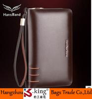 B.King Famous Brand Genuine Leather Cowhide Men Clutch Wallets , Double Zipper Waterproof Wallets Handbag Leather Strap, MHB008