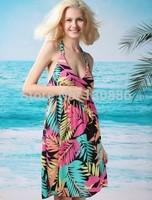 new 2014 backless bandage swimwear dress sexy bikini beach cover up vest  v-neck loose beach wear summer casual print dresses
