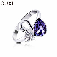 RiA006 Purple Made With Verified Swarovski Elements Crystal Swans Ring Thick White Gold Plated Free Shipping