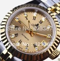 2015 New Relogios Femininos Watch Switzerland Brand Women Automatic Watch Lady Mechanical With 18k Gold Plated Waterproof 3atm