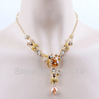 Gold Plated Champagne Zircon Bees Jewelry Sets for Bridesmaids,Pageant CZ Animal Pendant Necklaces & Earrings,Birthday Gifts