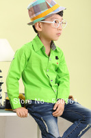 New 2014 children shirts,Hitz cotton solid color long sleeve children shirt, candy-colored leisure wild style shirts for kids