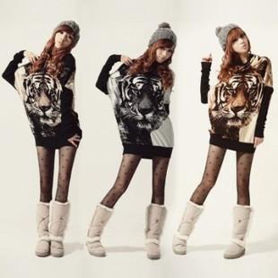 новый зимний женщин Тигр свитер 3color