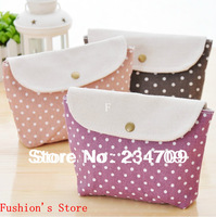 Free shipping,hot!Han edition lovely/multi-function wave point dot women bags,handbags,cosmetic bags,makeup case/bag,1 pcs/lot