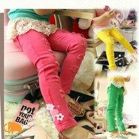 2-7year skinny Red Yellow Green kids pants girls leggings baby pants kid legging baby clothes fantasia infantil  100% cotton
