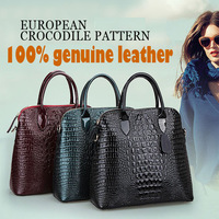2014 new brand quality genuine leather bag for women messenger bags crocodile pattern cowhide totes designer handbag wholesale