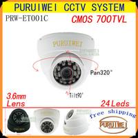 100% Original 1/4''CMOS 700tvl 24leds 20M IR Night Vision Indoor Dome Video Surveillance Security CCTV Camera free shipping!