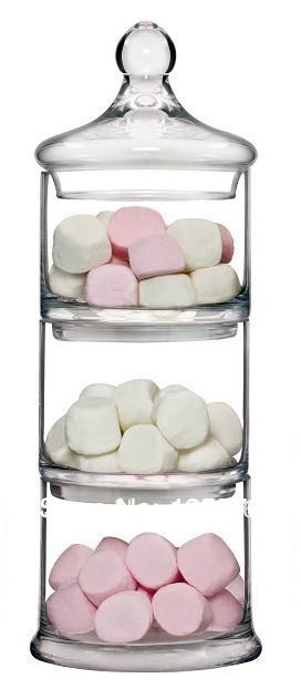 meer doel hoog 30cm glazen snoeppot, 3 stuks stapelbaar( set) glazen