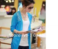Wholesale  Autumn Thin Cardigans Hollow Out  Sweaters Lace Long Design  Plus Size CL08