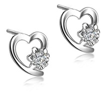 GVBORI 18K White Gold Heart Jewlery Diamond Bridal Earrings For Women Wedding/Engagement Valentine Gift Fine Jewelry