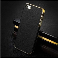 2013 new arrival luxury leather electroplate aluminum fashion cover for i phone 4 cases for apple iphone 4S