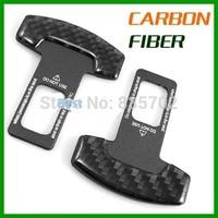 2Pcs Universal Carbon Fiber Safety Seat Belt Buckle Alarm Stopper Null Insert Canceller Clash Car Vehicle SUV Truck