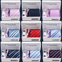 New model 6pcs/set 100% Silk ties Men's Ties f ashion Necktie set Plaid Stripe Mans Tie Neckties with gift box free shipping