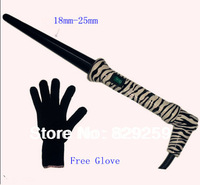 Free Shipping Zebra Hair Curling Wand Tourmaline Ceramic Cone Curling Irons Hair Roller Glove Dual Voltage