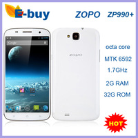 Original ZOPO ZP990+ 2G RAM octa Core Phone MTK6592 1.7GHz Android 4.2 1920*1080 5.95'inch Screen 13MP Camera OTA OTG OTS