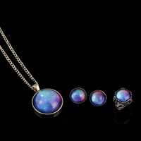 Min.order is usd15(mix order)Free Shipping Fashion New Design Galaxy Print Gem Pendant Necklace Earring Ring Set Jewelry
