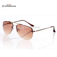 Free dropshipping Women & Men Designer Aviator Retro Sunglasses Rimless w/ Slender Alloy Frame Gradient Lens Glasses 2014 SG32