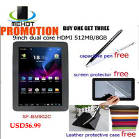 tablet pc android free  SF-BM902C hot  9 inch capacitive screen 800*480 VIA 8880 Dual Core WIFI HDMI Tablet pc