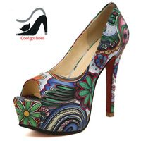 Sapatos de salto Femininos Zapatos platform shoes for women sandalias floral print Fashion cloth red bottom peep toe pumps