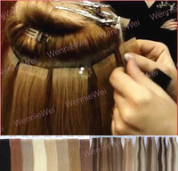 Wennie's 5A Best Quality PU Skin Tape Human Hair Weft Brazilian Natural Remy Extension 20''22' Black Brown blonde 45g Free Ship