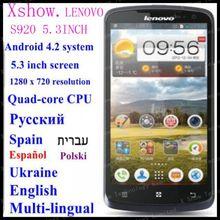 FREE SHIPING instock  Original Lenovo S920 phone 5.3 inch  Quad-core CPU 4G ROM 1G RAM 13M Camera russia  aviliable ANDROID4.2(China (Mainland))