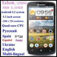 FREE SHIPING instock  Original Lenovo S920 phone 5.3 inch  Quad-core CPU 4G ROM 1G RAM 13M Camera russia  aviliable ANDROID4.2