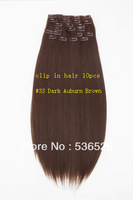 "Sell like hot cakes Sexy Clip-in On Hair Extension, Synthetic Hair, 20"",160g, #33 Dark Auburn Brown ,10pcs/set,"