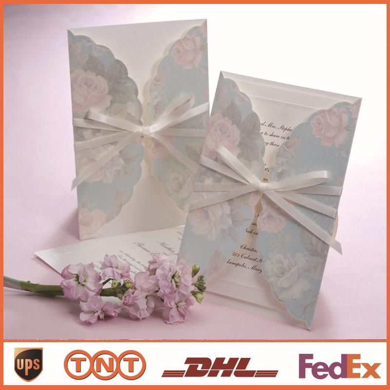 Convite de casamento Cartões de fita de impressão para impressão rosa Laser Cut Convites elegantes HQ0055(China (Mainland))