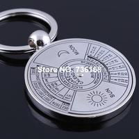 Free shipping calendario chaveiro online fancy key ring jewellery wholesale zinc alloy popular English calendar key ring fashion