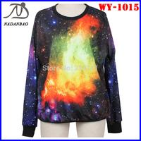 Fashion Women Hoddy Coloful Galaxy 3D Digital Printed Sweatshirt Long Sleeve Sport Women Suit Wholesale