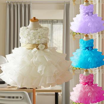 2014 new summer girl dress, ball gown, flower, princess dress, sleeveless, fashion layed, with belt ,Pink/purple, Free Shipping