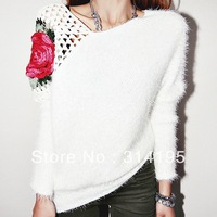 2014 New Fashion Autumn Winter sweater Women Rose Hollow out on Shoulder Pullover Lady Slim Knitted Sweater Knitwear