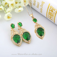 Green& Blue Austrian Gem Drop 18K Gold Plated Necklace Pendant & Earrings Party Jewelry set Free Shipping A552