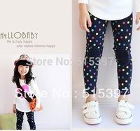 Free shipping,girls Color Dot pants, blue color\ flowers Leggings, Cotton  pants, High Quality  TZ02Ne603